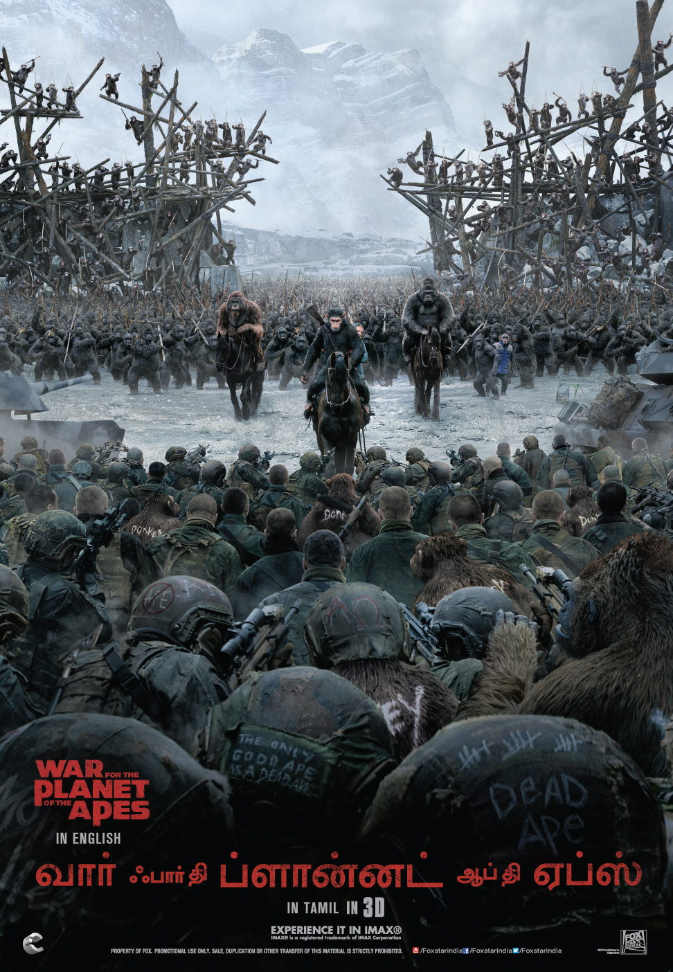 War For The Planet Of The Apes (Tamil Poster)